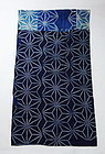 Japanese Vintage Textile Cotton Rug with Indigo Dyed Katazome