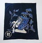 Japanese Antique Textile Furoshiki with Gosho-guruma Motif