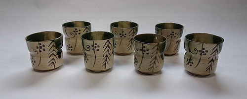 Japanese Antique Ceramic Oribe-yaki Mukozuke