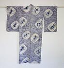 Japanese Vintage Textile Cotton Kimono with Bold Shibori