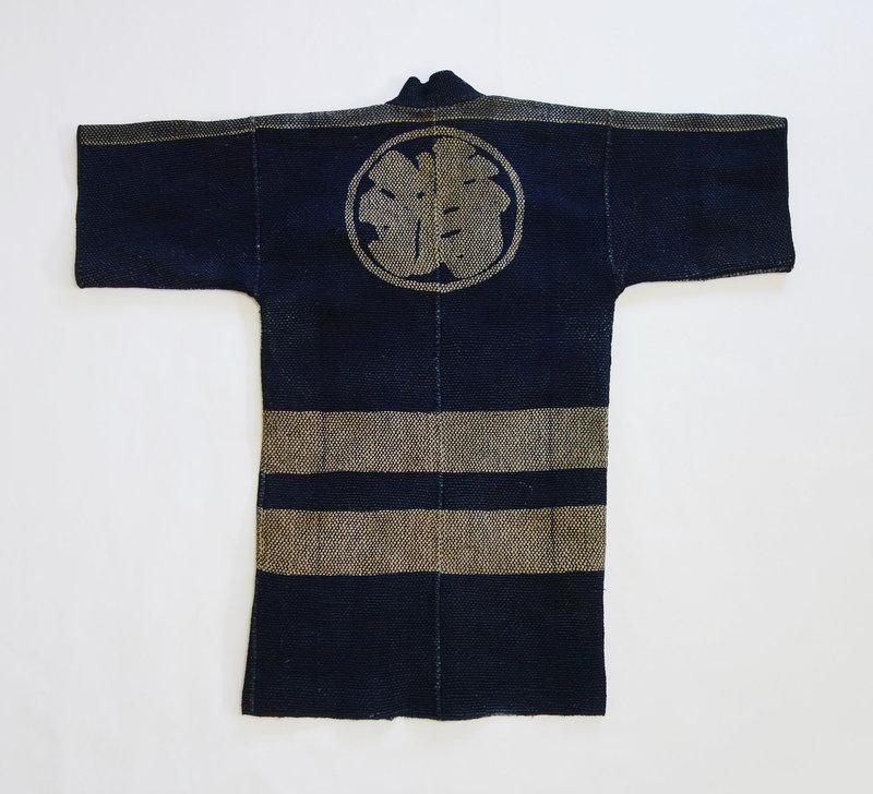 Japanese Vintage Textile Fireman's Hanten Coat with Sashiko