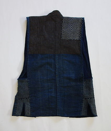 Japanese Vintage Textile Sodenashi with Sashiko Cloth