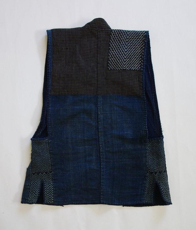 Japanese Vintage Textile Sodenashi with Sashiko Cloth