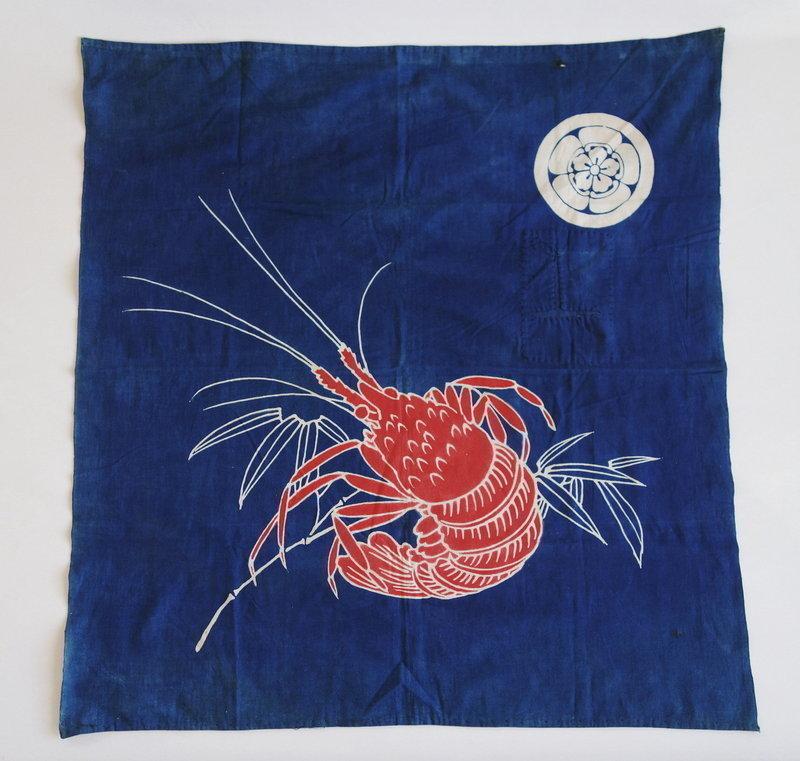 Japanese Antique Textile Cotton Furoshiki with Ebi Shrimp Motif