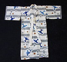 Japanese Vintage Textile Baby's Cotton Kimono with Airplanes
