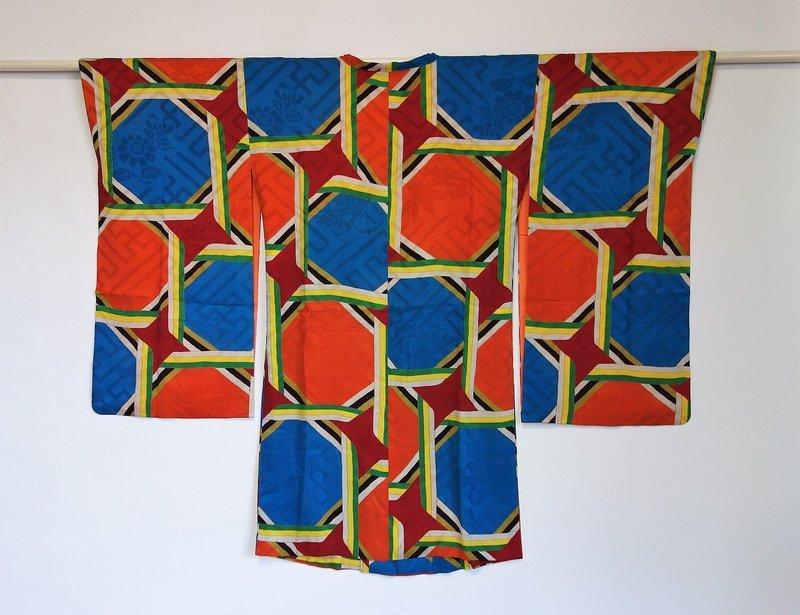 Japanese Vintage Textile Figured Silk Coat for Kimono