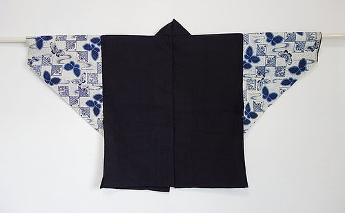Japanese Vintage Textile Cotton Han-juban with Jishiro Sleeves