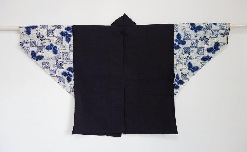 Japanese Vintage Textile Cotton Han-juban with Jishiro Sleeves