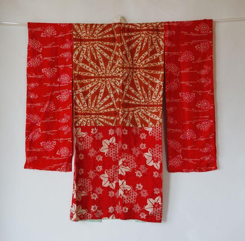 Japanese Vintage Textile Beni-itajime Juban Under Kimono