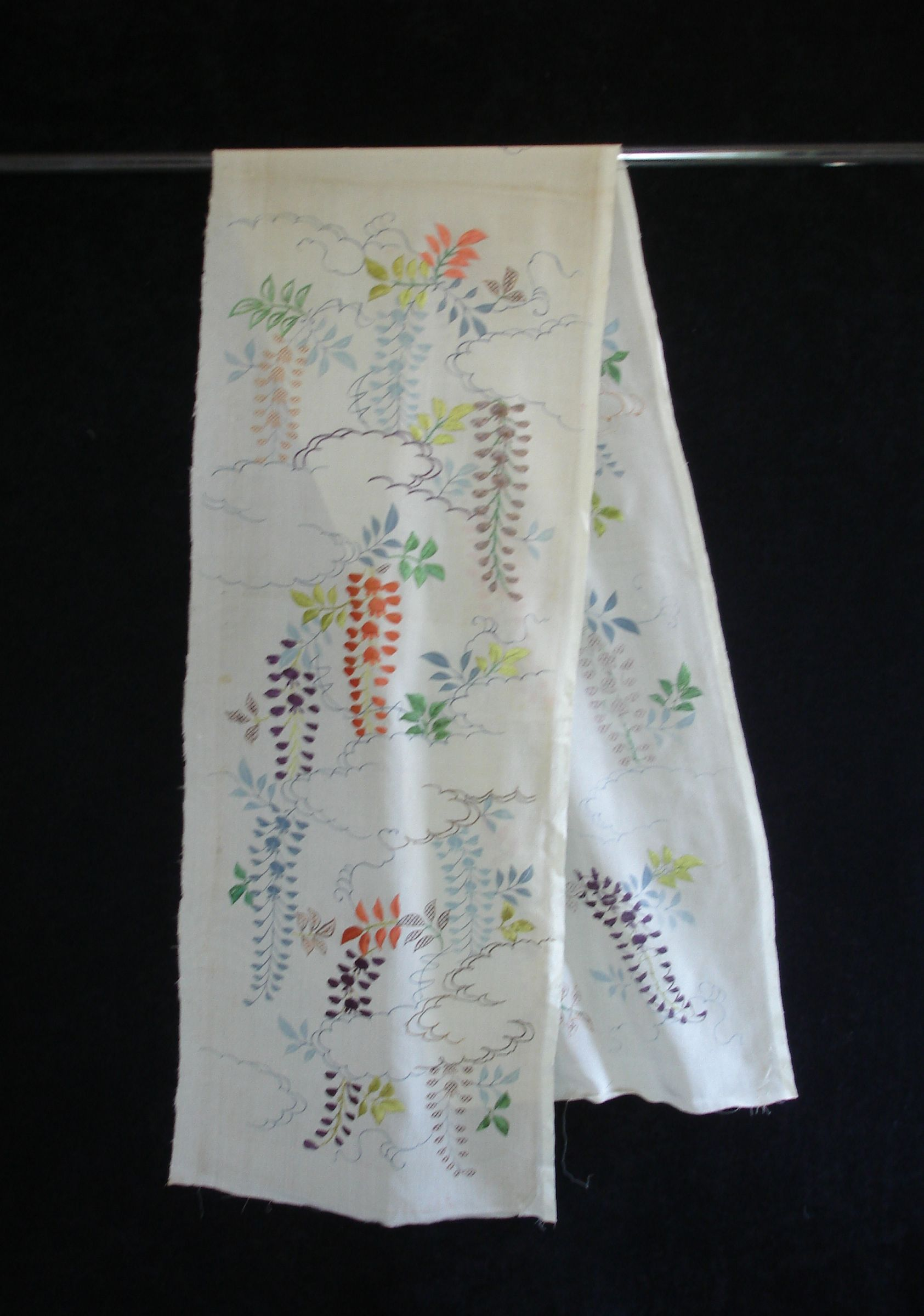 Japanese Antique Textile Silk Crepe Kosode -gire with Embroidery