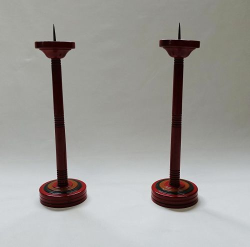 Japanese Vintage Wood Folk Craft Urushi Lacquer Candle Stand