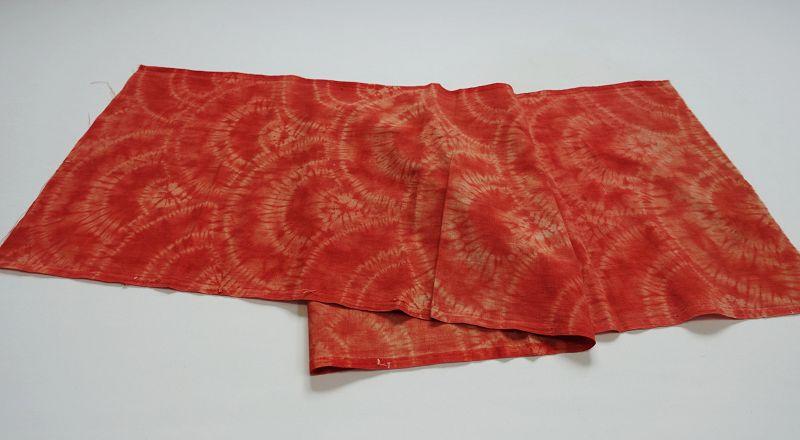 Japanese Vintage Textile Shibori Cloth Dyed with Akane Madder