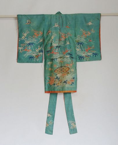 Japanese Antique Girl's Silk Yuzen-zome Kimono with Se-mamori