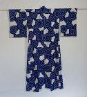 Japanese Vintage Textile Cotton Kimono (yukata) with Shibori Spiral