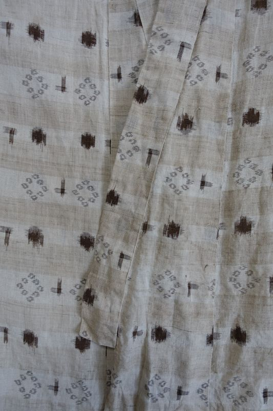 Japanese Antique Textile Asa Akaso Kasuri Kimono Made in Omi