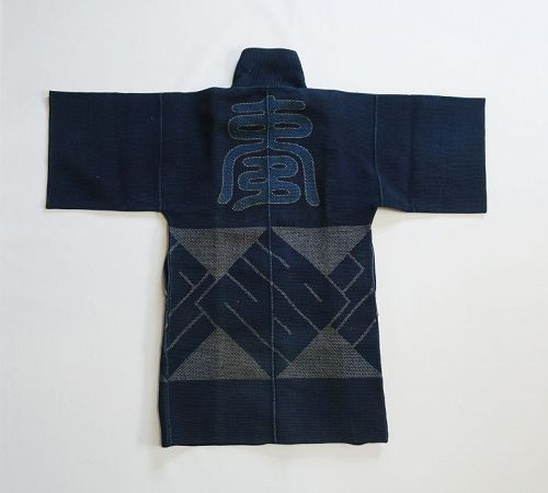 Japanese Antique Textile Sashiko Fireman's Coat Meiji