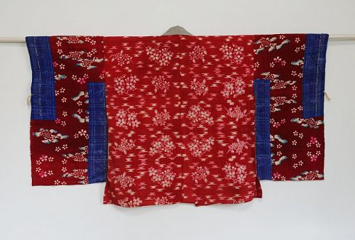 Japanese Antique Textile Han-juban Made of Beni-itajime shibori