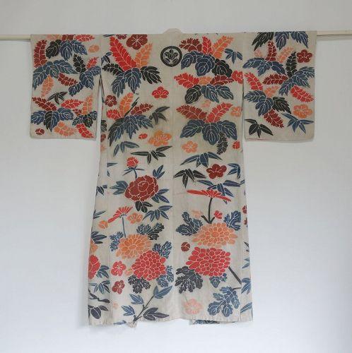Japanese Antique Textile Cotton Tsutsugaki Kimono for Festival