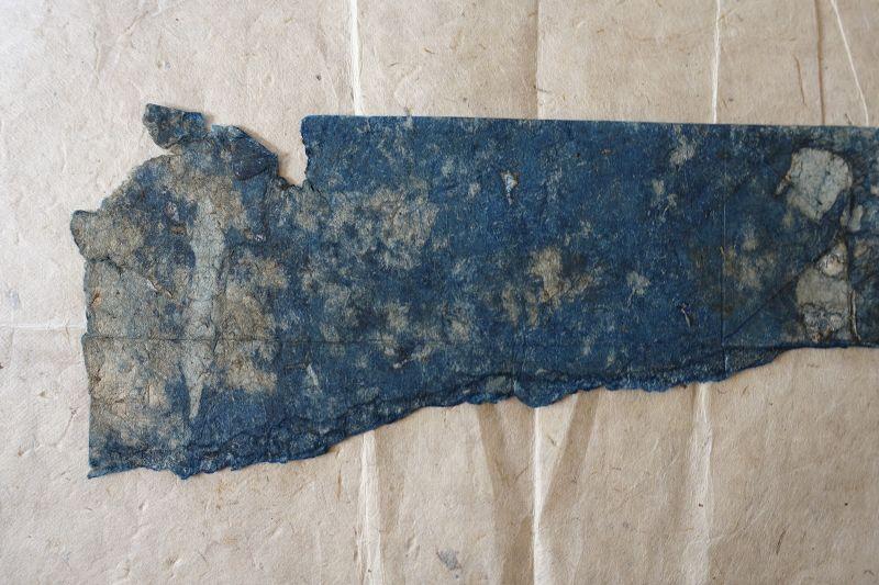 Japanese Antique Indigo Handmade  Washi  Fragments