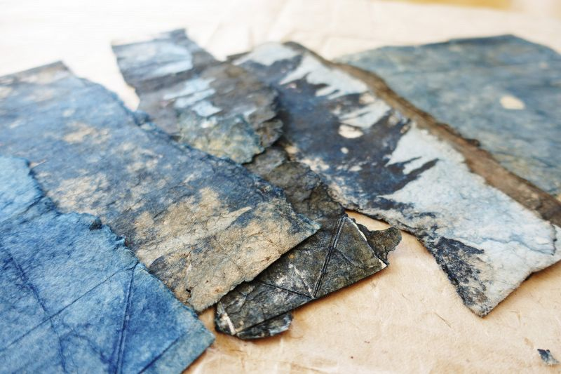 Japanese Antique Indigo Handmade  Washi  Fragments