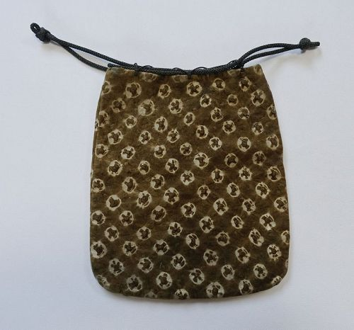Japanese Antique Deer Skin Bag with Shibori Fusube-gawa
