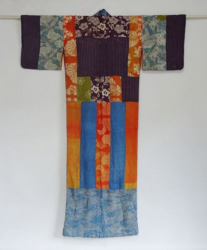 Japanese Antique Textile Yosegire-juban Made of Many Fragments