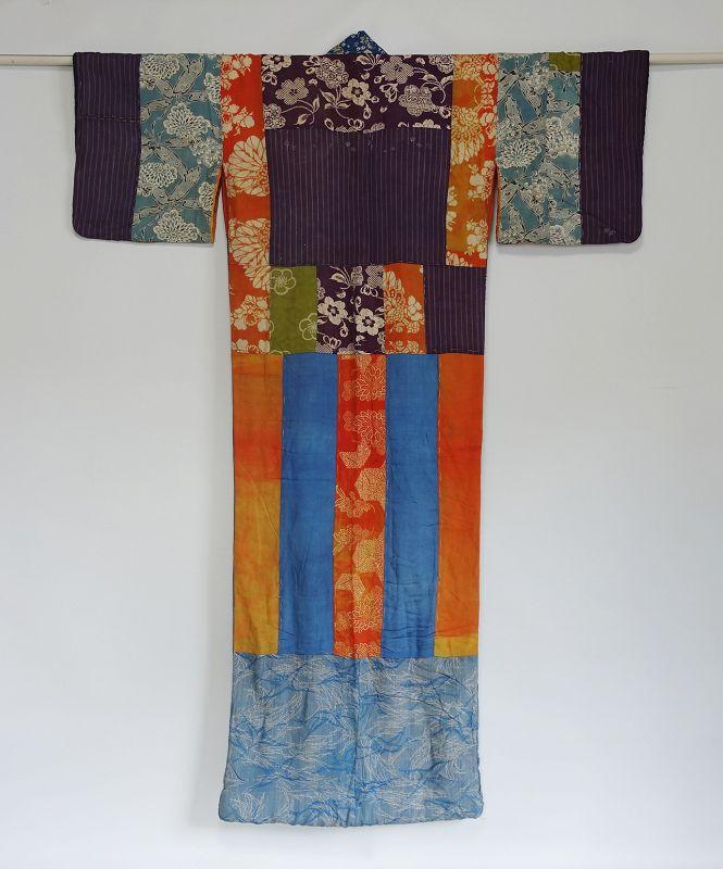 Japanese Antique Textile Yosegire-juban Made of Many Fragments