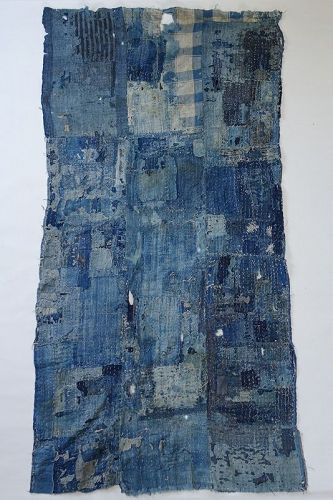 Japanese Vintage Textile Boro Futonji Made of Natural Indigo Cotton
