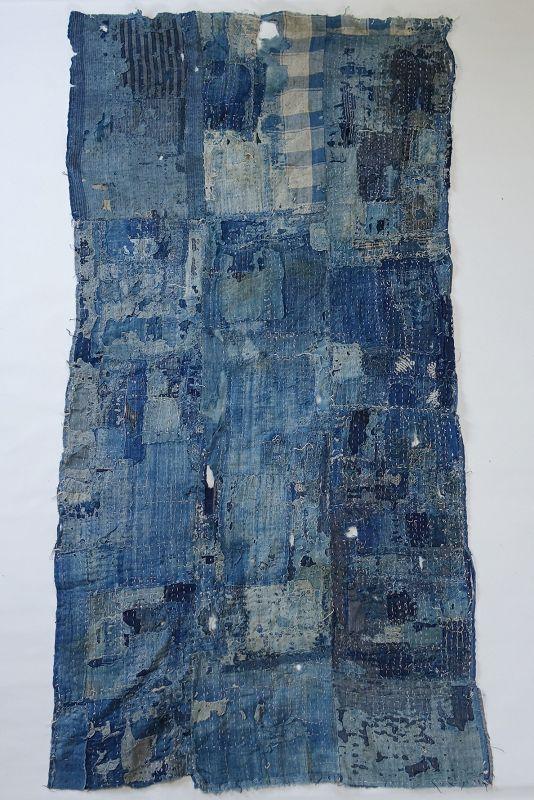 Japanese Vintage Textile Boro Futonji Made of Natural Indigo Cotton