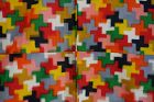 Japanese Vintage Textile Modern Meisen with Colorful Cross