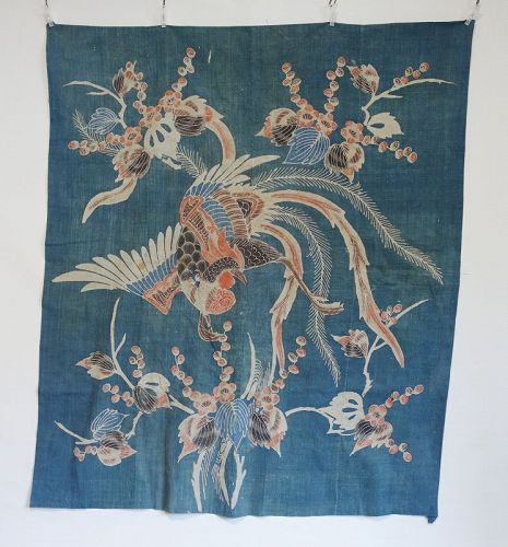 Japanese Antique Textile Futonji with Tsutsugaki Pheonix Motif