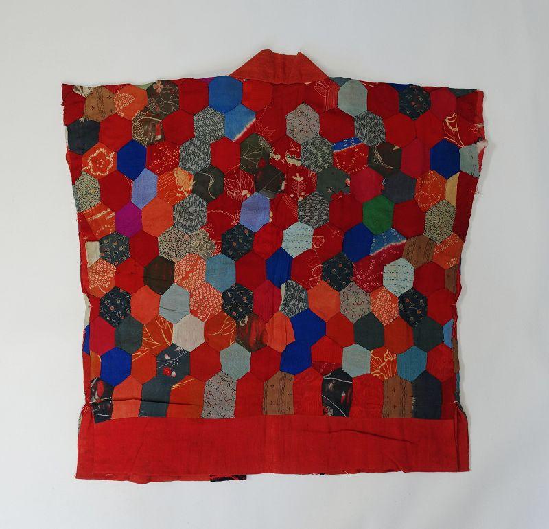 Japanese Antique Textile Yosegire Han-juban Made of Silk Crepe