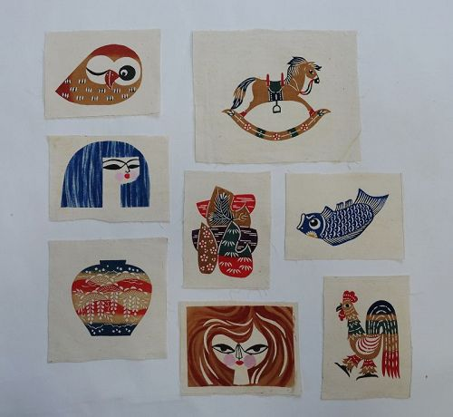 Japanese Vintage Cotton Fragments with Mingei Katazome Motifs