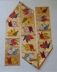 Japanese Vintage Textile Silk Obi Sash with Butterfly Motif