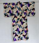 Japanese Vintage Meisen Kimono with Geometric Modern Design