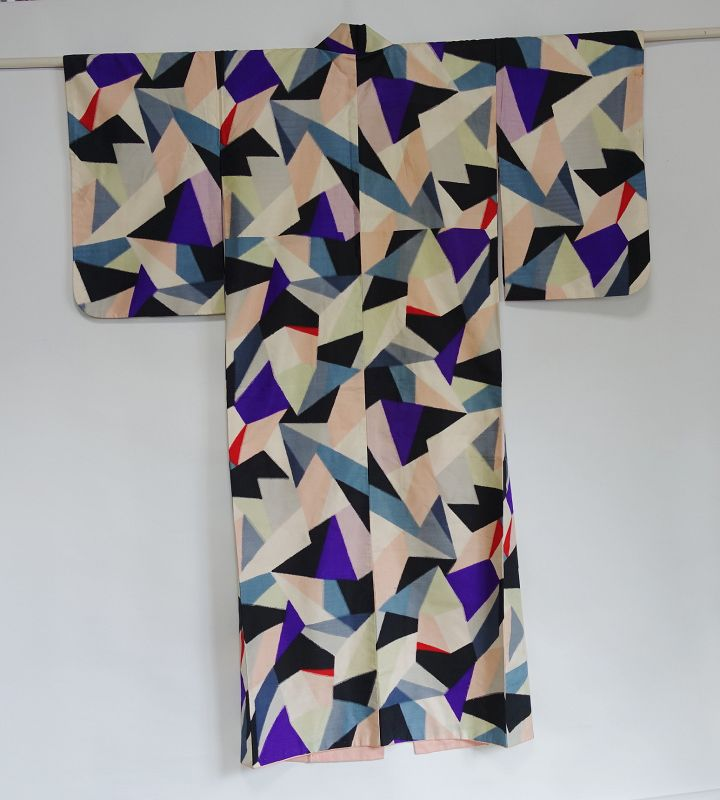 Japanese Vintage Meisen Kimono with Geometric Modern Design