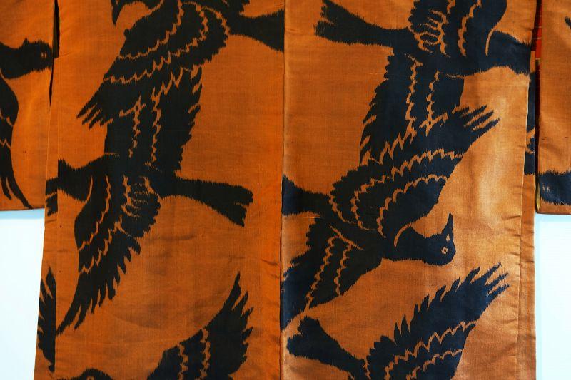 Japanese Vintage Textile Meisen Haori with Crow Motif