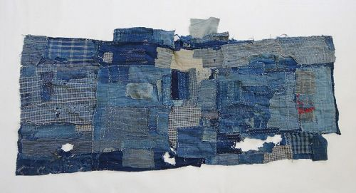 Japanese Antique Textile Boro Futonji Made of Indigo Fragments