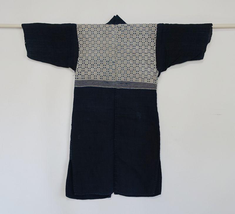 Japanese Antique Textile Asa Kogin Kimono from Aomori Pref.