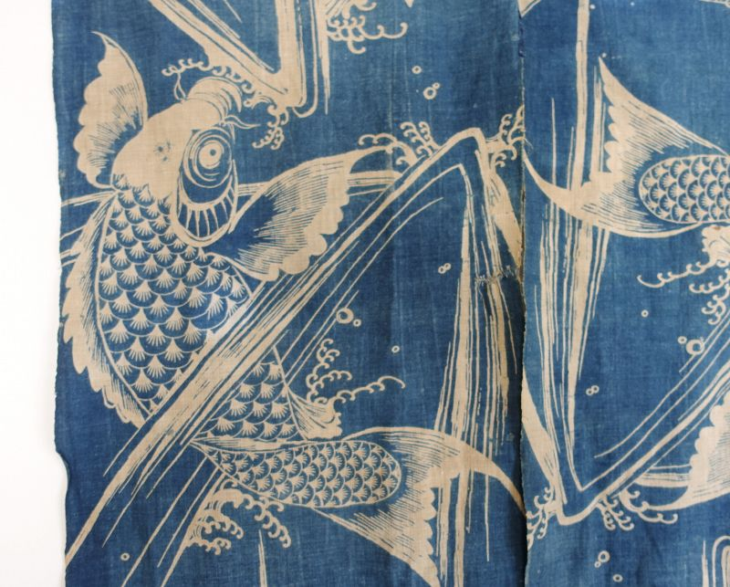 Japanese Antique Textile Cotton Noren with Katazome Carp Motif