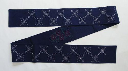 Japanese Vintage Textile Cotton Sashiko Obi Sash-2