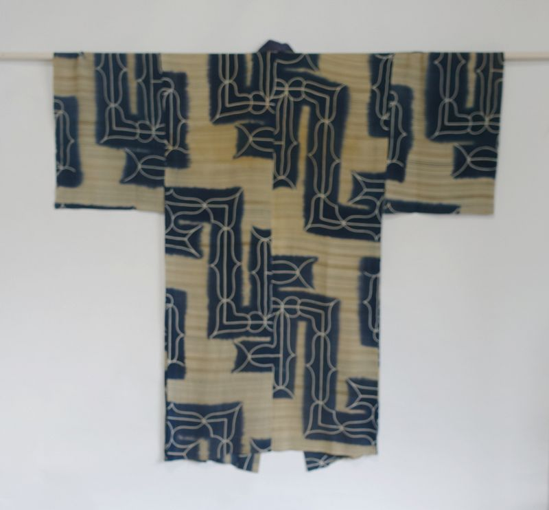 Japanese Vintage Textile Silk Crepe Man's Juban with Ainu Pattern