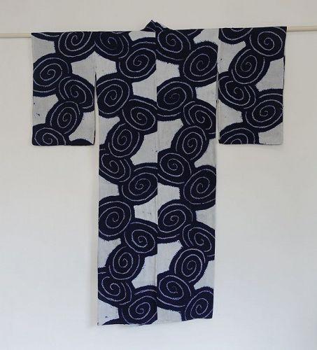 Japanese Vintage Cotton Kimono Yukata with Shibori Spiral Pattern