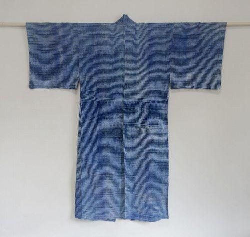 Japanese Vintage Textile Man's Cotton Kimono with Shibori