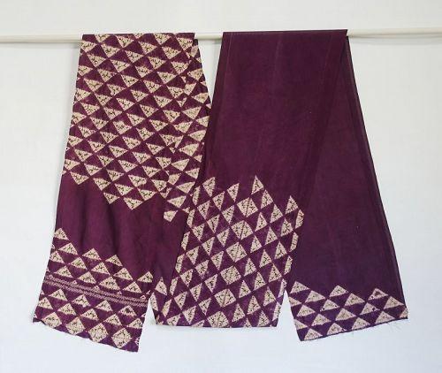 Japanese Vintage Textile Shikon-zome Obi sash Cloth with Shibori
