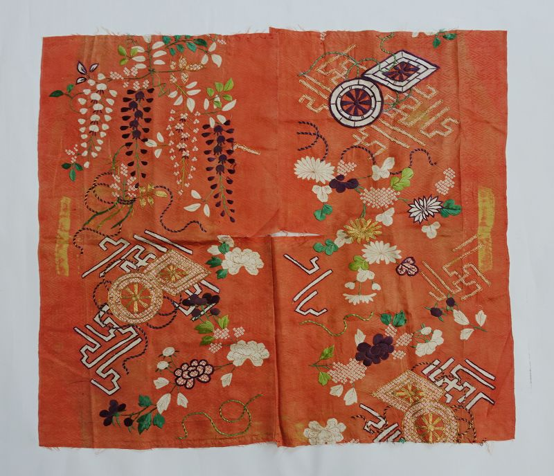 Japanese Antique Textile Fragment of Edo Kosode Kimono