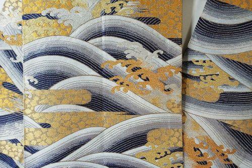 Japanese Vintage Textile Maru-obi Gold Brocade Sash with Waves