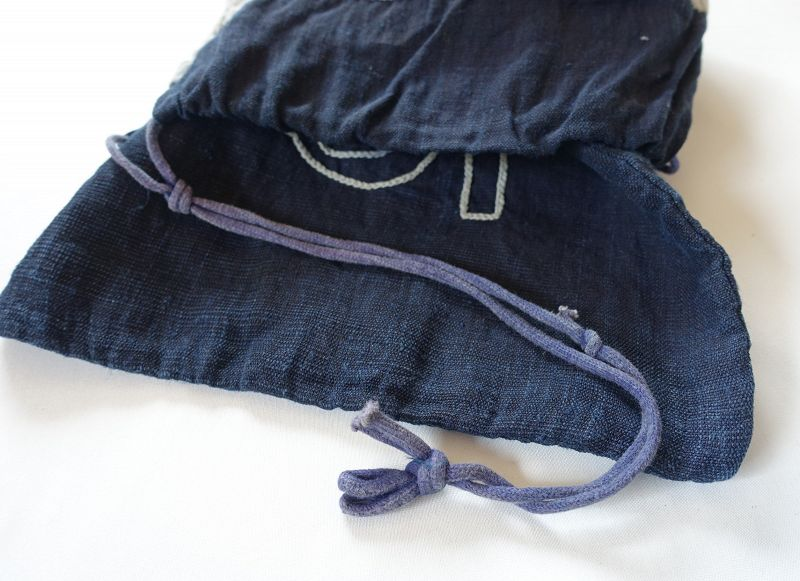 Japanese Antique Textile Asa Hemp Indigo Dye Bag
