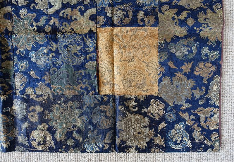Japanese Antique Textile Buddhist Hichi-jo Kesa Made of Brocade