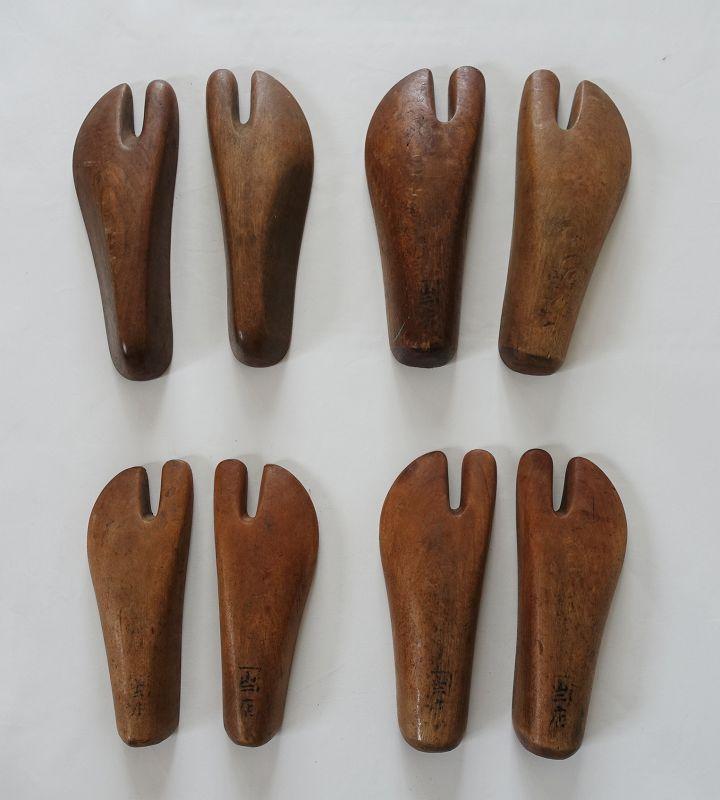Japanese Vintage Craft 4 pairs of Wood Pattern for Tabi Socks
